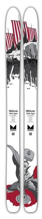 Storfjellskien 1184 kommer i år i en lettversjon – 1184 light, der du får en brei ski som tåler hardkjøring men som kun veier 1730g i 182 cm lengde.  - ©SGNskis