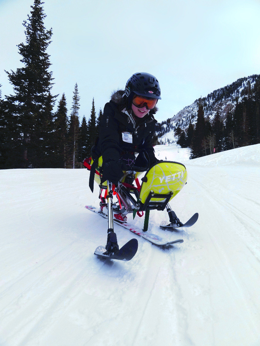 An adaptive skier takes part in the Wasatch Adaptive Sports program in Little Cottonwood Canyon.