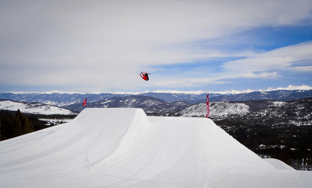 Slopestyle Course in the Freeway Terrain Park, Breck.