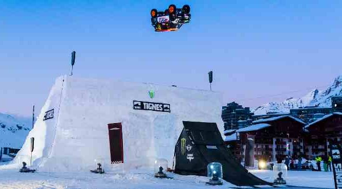 Guerlain Chicherit is hoping to break the world record for the longest car jump in Tignes on March 16th