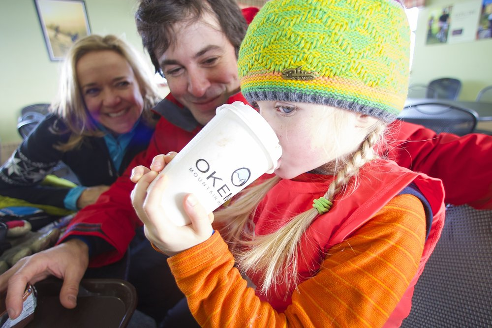 Hot coco break at Okemo.