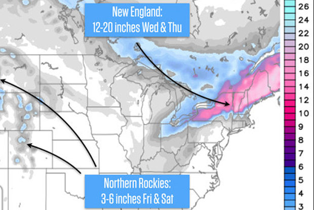 The snow forecast shows that the deepest accumulations will be in New England.