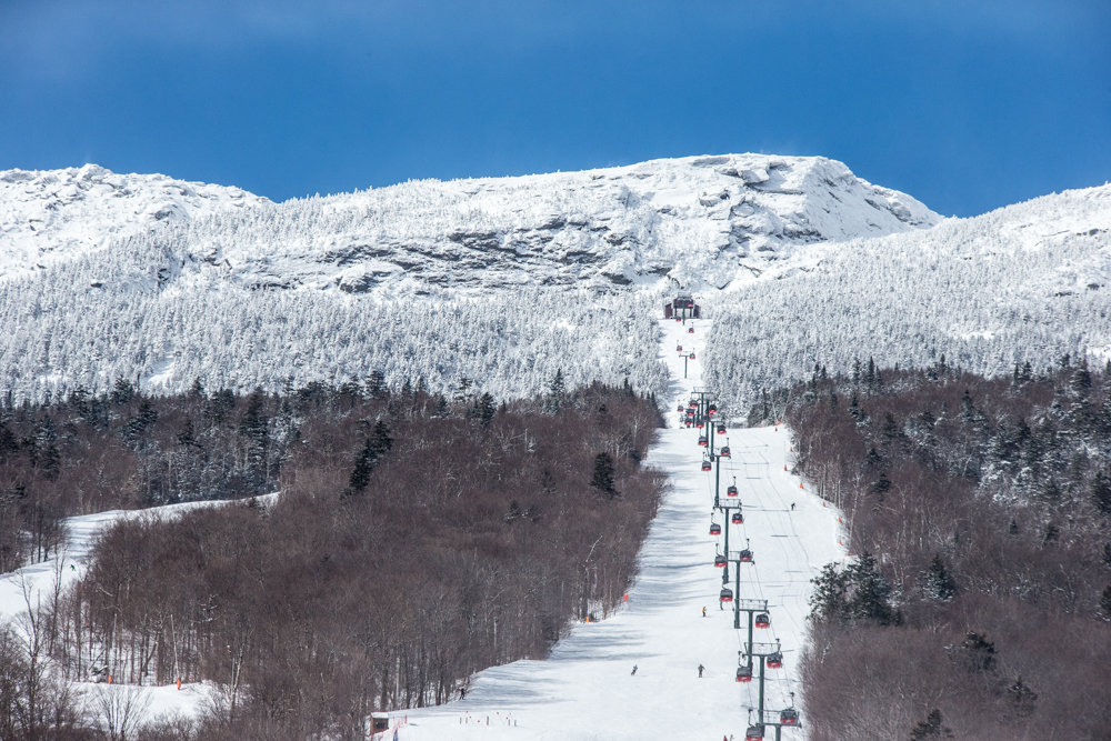 Stowe's ombre slopes dipped in white on this bluebird day.