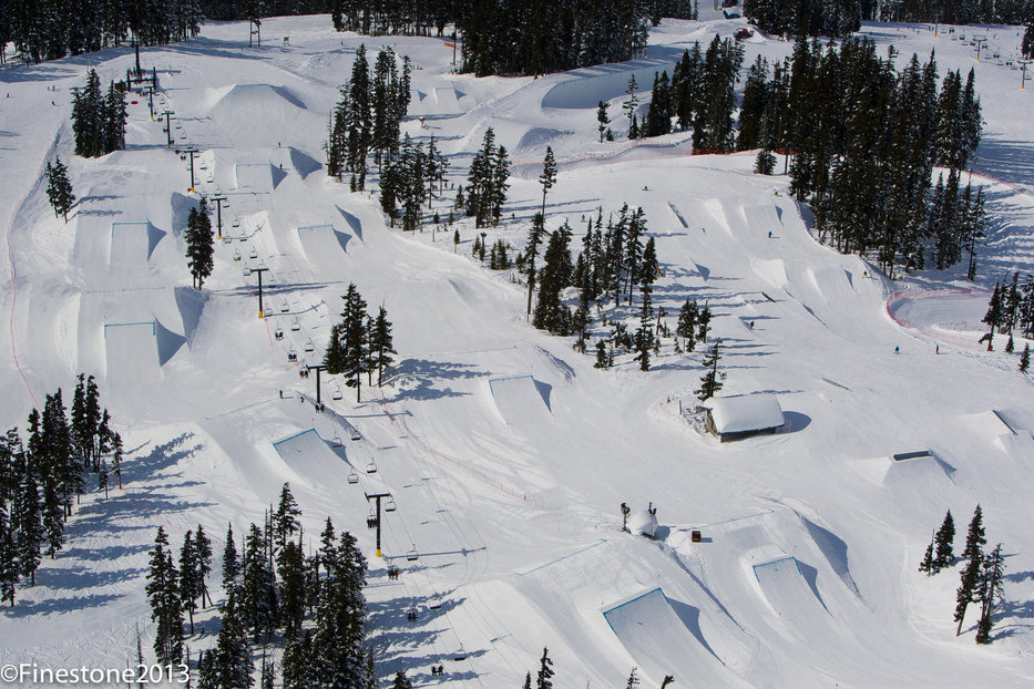 Whistler Blackcomb's terrain parks crew works night and day to create pristine terrain parks with 200+ features.
