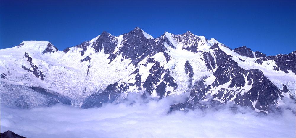 The scenic Mischabelhorner, overlooking Saas Fee.