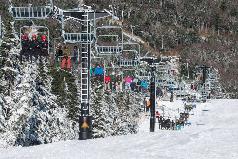 First chair-fulls of skiers and riders at Killington this week. - ©Killington Resort