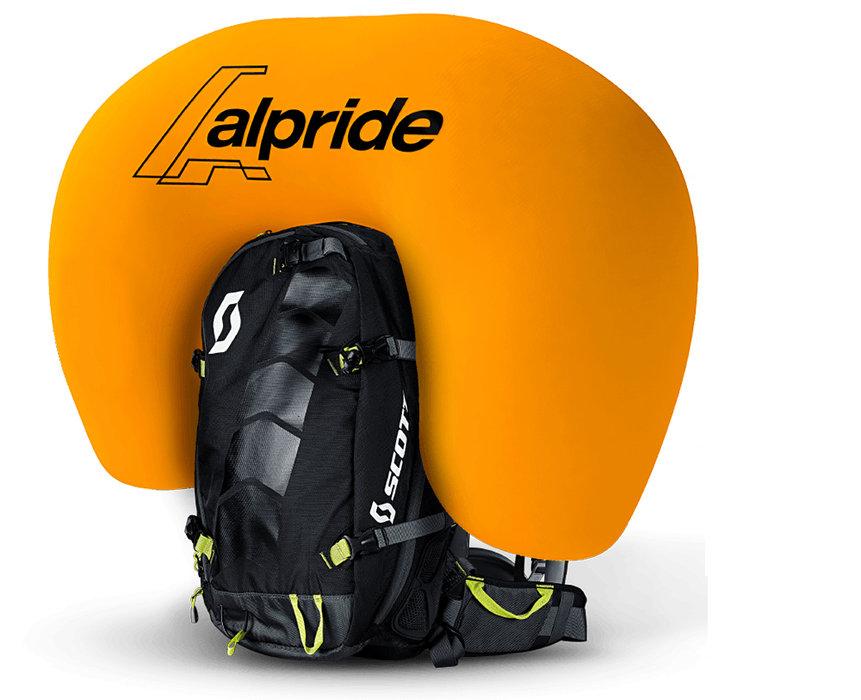 Sac ABS Alpride : De forme ronde, l'airbag gonflé (150 l) protège le dos et la tête de l'utilisateur. Possibilité de s'entraîner sans cartouche pour sentir la force de la poignée.