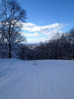 Great opening day! Some icy patches but the sun came around the mtn, then great powder for November! No one there!