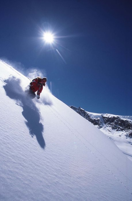 A skier in Saas Fee.