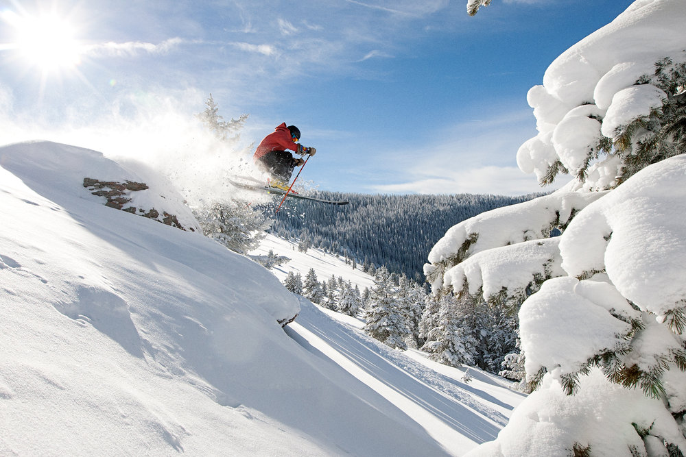 Cliff drops and other backcountry features abound in Vail's Blue Sky Basin. - ©Daniel Milchev / Vail