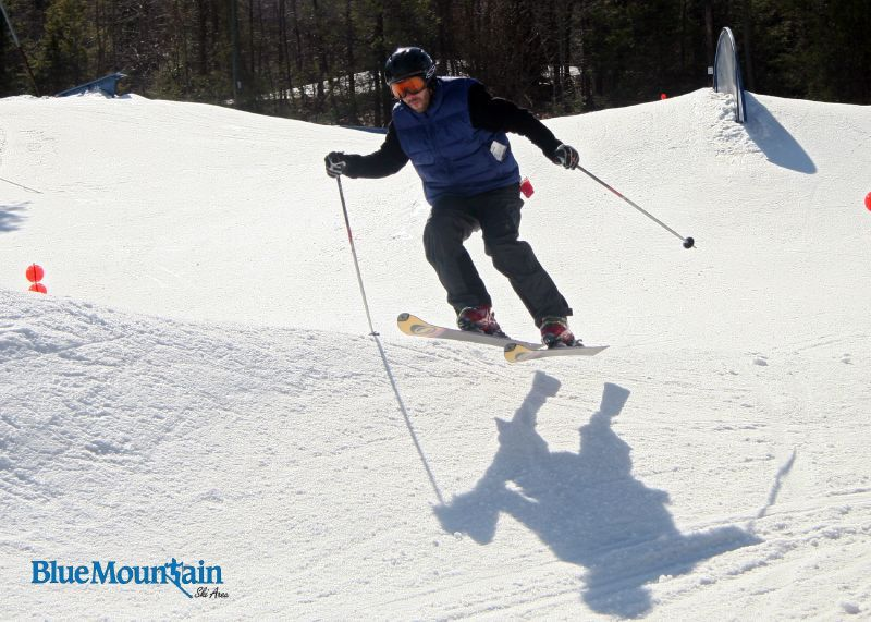 A skier gets some air off a jump at Blue Mountain, Pennsylvania