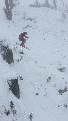 Lil snow falling.  Foggy as.  But these kids rock socks.  Free ski down links.