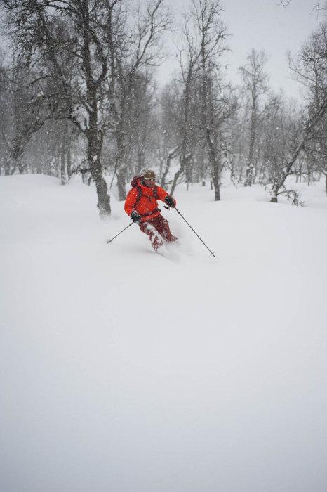 Det snødde tett da vi omsider var på vei ned Svartholten. - ©Eirik Aspaas