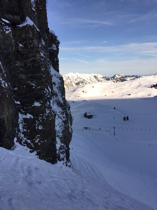 Engelberg - All ridden powder, partially already hard with crust. Very warm  - ©chalulu1's iPhone