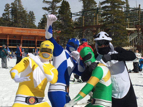 Heavenly Mountain Resort - The characters are out ! Spring conditions brings out the best! Just have fun !  - ©iPhone