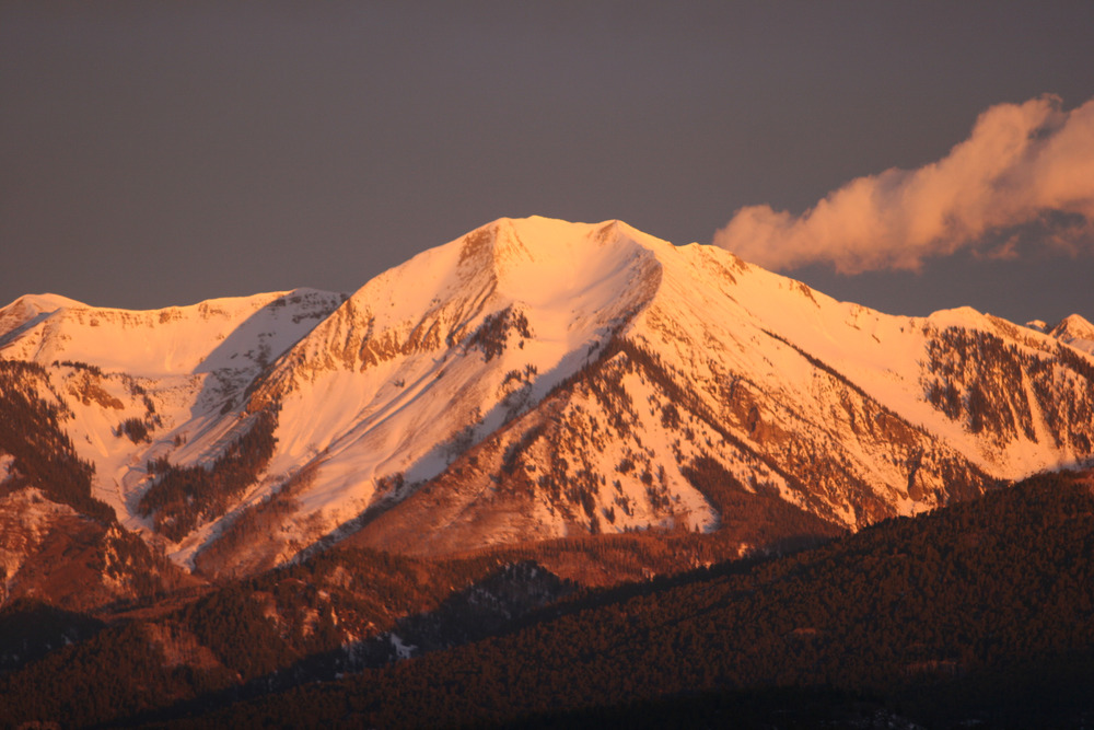Scenic mountains in low light over Durango, CO.