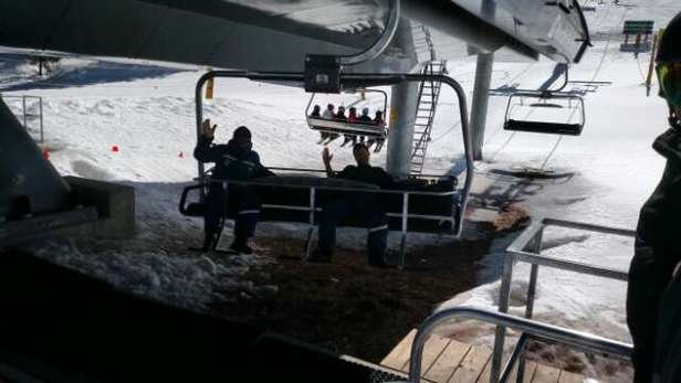 Vail - Lift operators warming our chair. Skied the weekend. Good spring conditions. Minimal lift lines.
