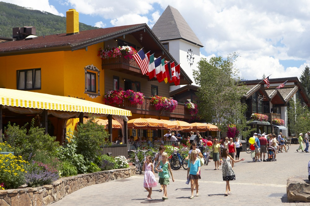 Scenic spots in Vail Village, Colorado in summer
