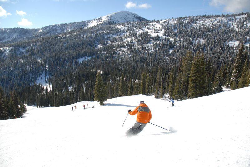 A skier descending a slope.