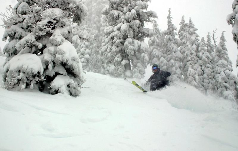 A skier takes on new powder during a storm at Alpine Meadows, California