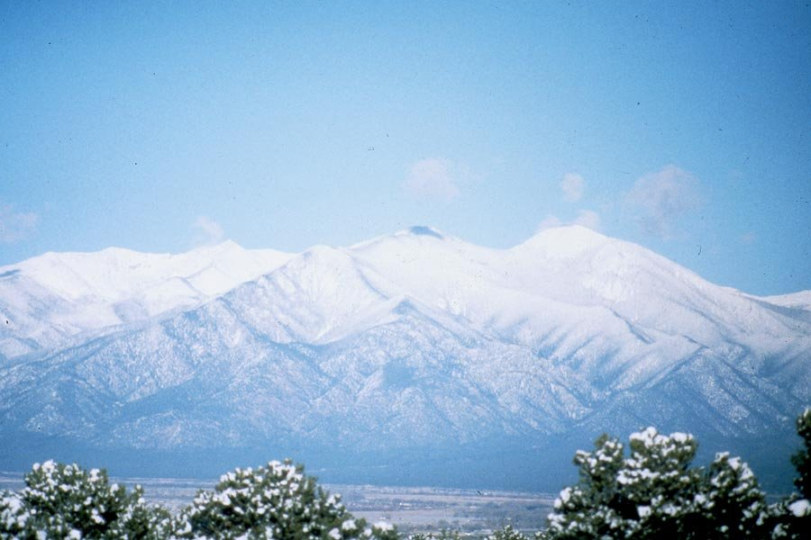 Breathtaking view of snowy Taos Mountain. Photo by Susan Christie.