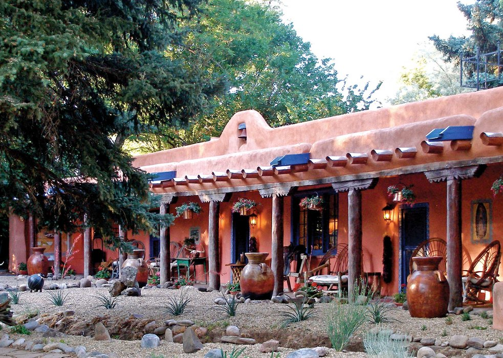 The front of the Adobe & Pines Inn, Taos, NM.