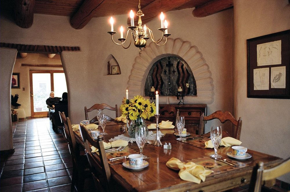 The dining room of the Little Tree Bed & Breakfast, Taos, New Mexico.