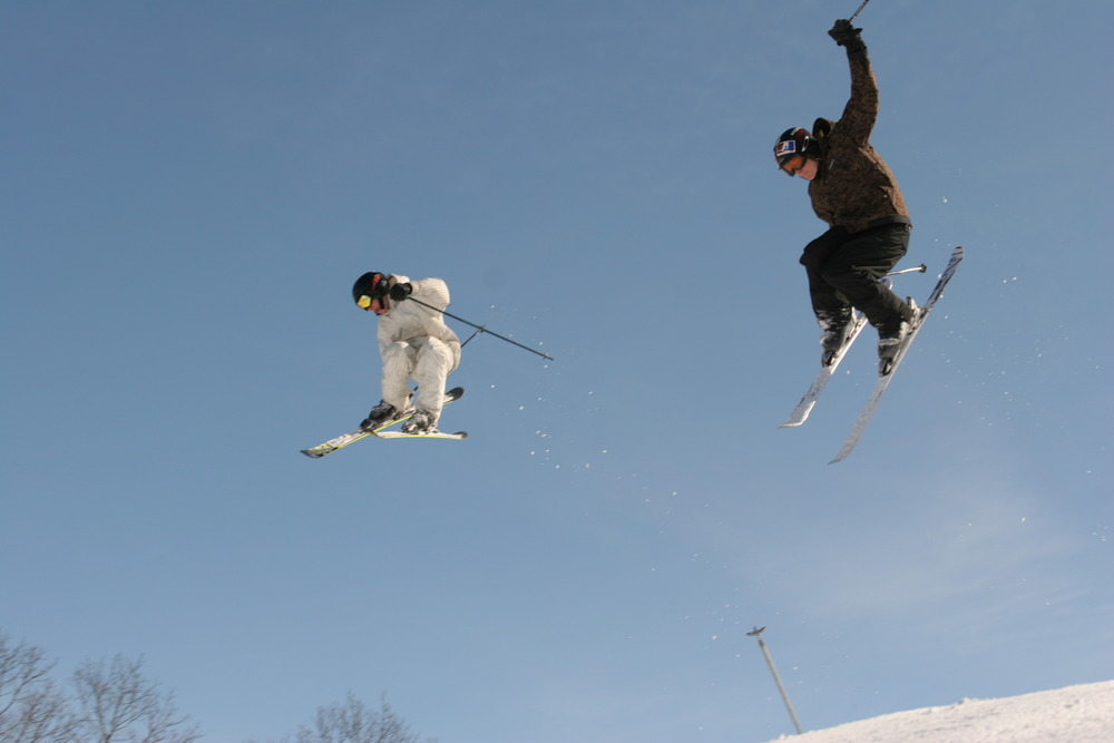 A pair of freestyle skiers at Wild Mountain, MN