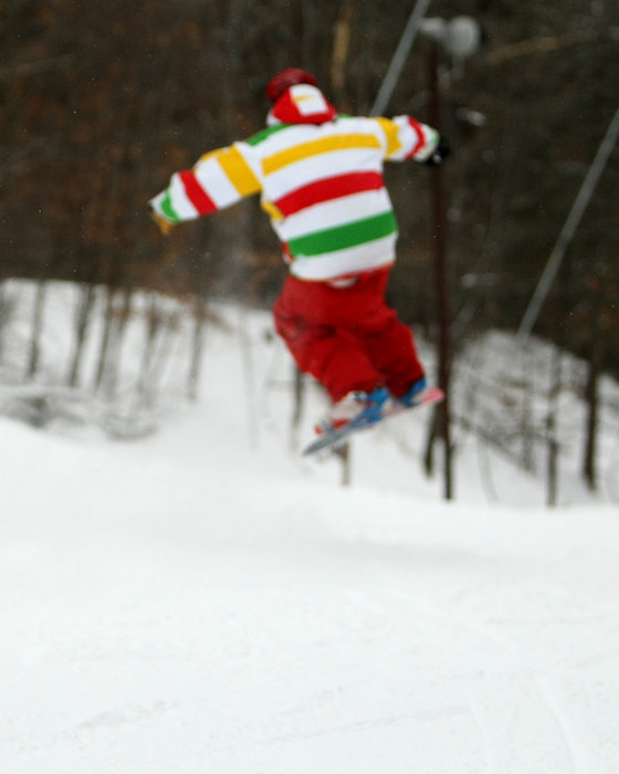 Striped snowboarder at Wild Mountain, MN