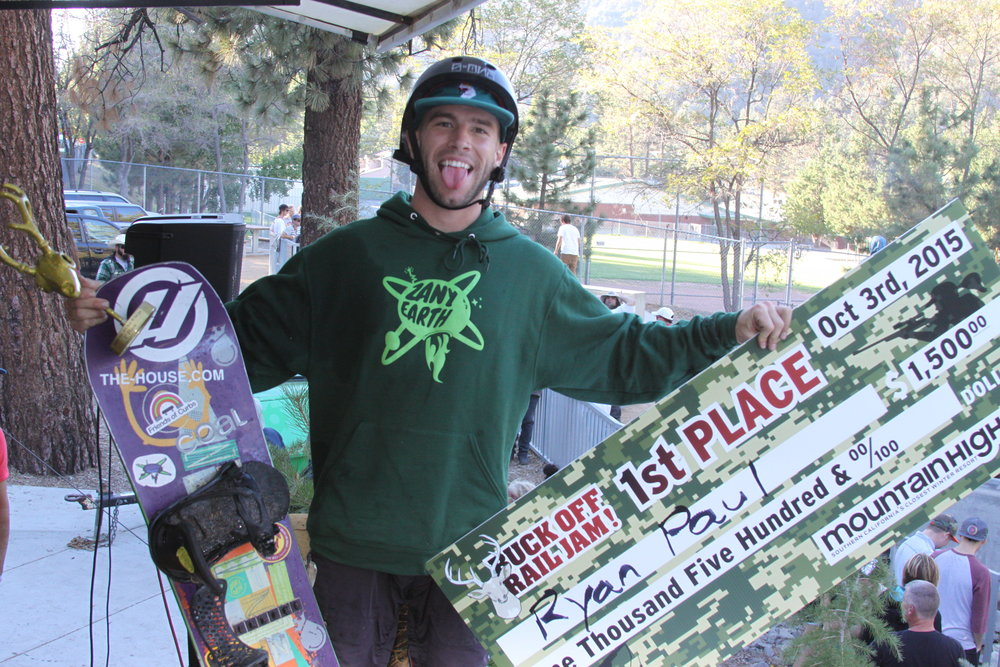 Ryan Paul won first place in Mountain High's 2015 Buck Off Rail Jam.