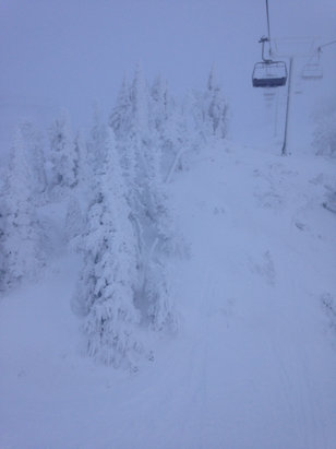 Mt. Bachelor - Windy, freezing fog/rain Wednesday. Tuesday was a perfect bluebird groomer day with stashes of pow here and there.  Huge props to the outback staff for digging out the lift in time to get laps on the backside Monday.  - ©iPhone
