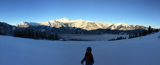 Panorama Mountain - Gorgeous day.  Groomed trails.  Cold at the base but warmer up top.    - ©Dylan's Phone
