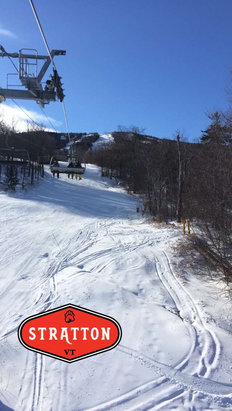 Stratton Mountain - Decent machine groomed. Few icy patches near the submit by mid-day but overall great conditions for the little natural snowfall. Worth the trip! - ©Tim DeGennaro's iPhone
