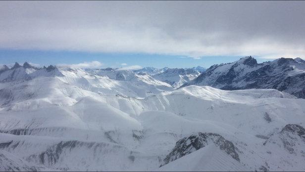 Alpe d'Huez - Some nice fresh snow today and great expectations of a heavy fall tomorrow.  Here's a view from the top. - ©Sam's iPhone
