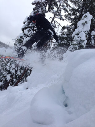 Ski China Peak - Great powder day at China Peak. 3' or more on Buckhorn bowl. Whole mountain is open for first time in years! Great job CP staff - ©Morgan's iPhone