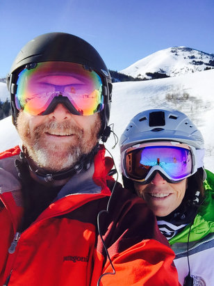 Soldier Mountain Ski Area - Such a perfect Sunny Day skiing! Packed groomers and even some left over Pow! Ski Soldier and enjoy! New Owners Matt and Diane Welcome and Thanks!!  - ©Ed Hinkle's iPhone