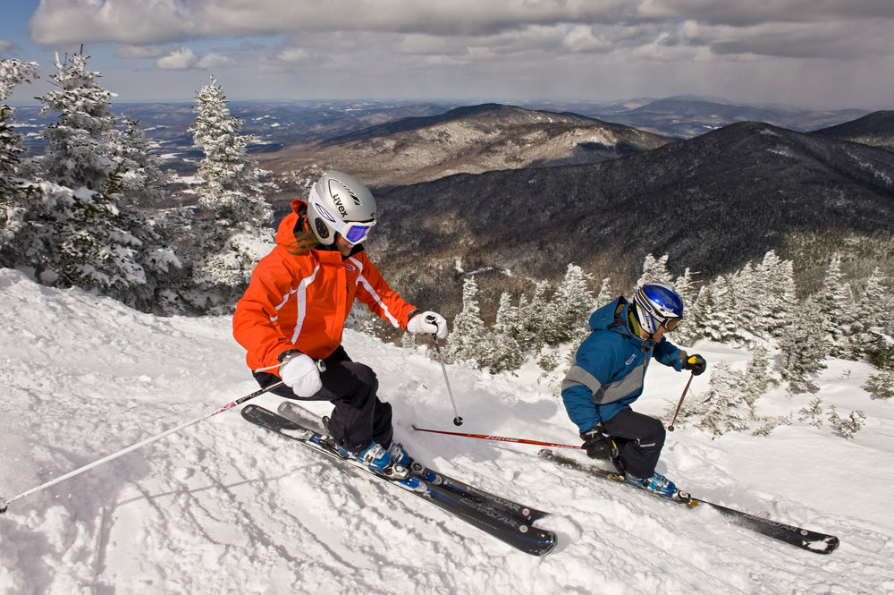Skiers at Smugglers' Notch, Vermont.