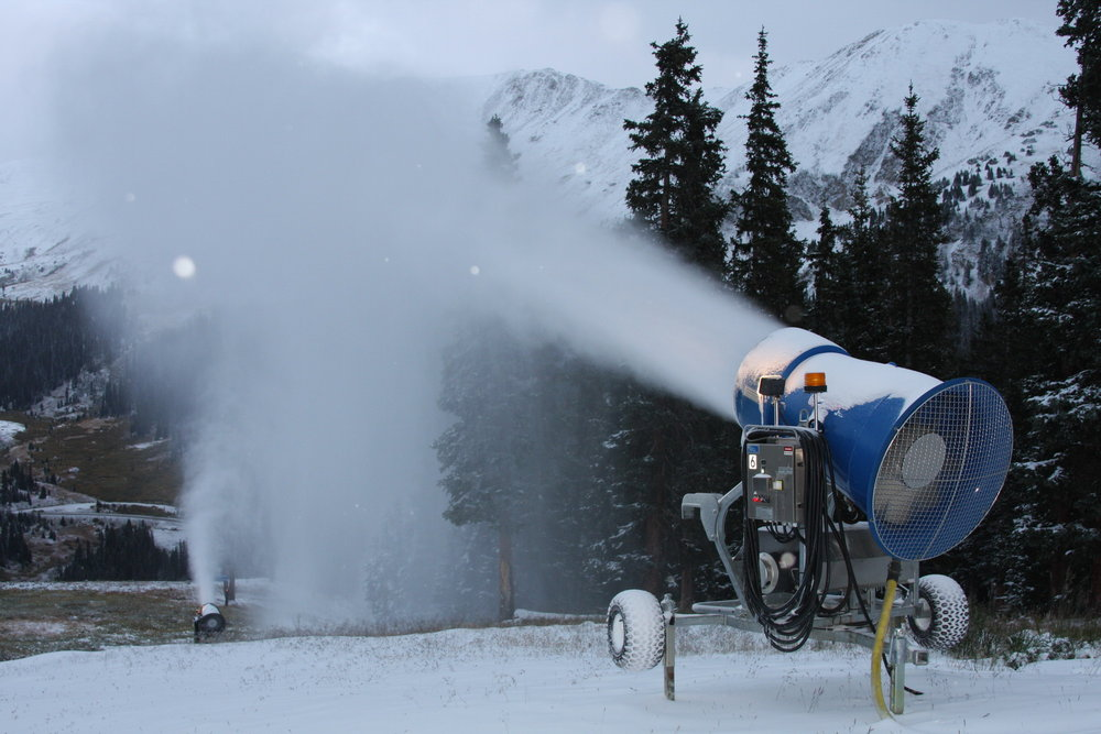 Snowmaking underway at Arapahoe Basin, CO.