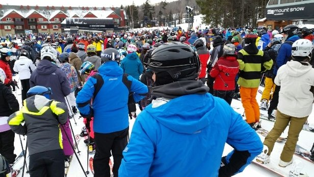 Mount Snow - everyone's out today.  long, long lift lines.  nice and warm though. - ©cwradler