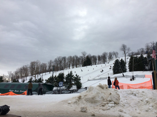 Seven Springs - Nobody here, no ice at 10:40am, soft snow, gunner is great, lots of bare spots on headwalls, base is thin, dirt and leaves all over northface, not been on front yet. I'm having fun, come up and dress light, lots of open jackets.  - ©iPhone