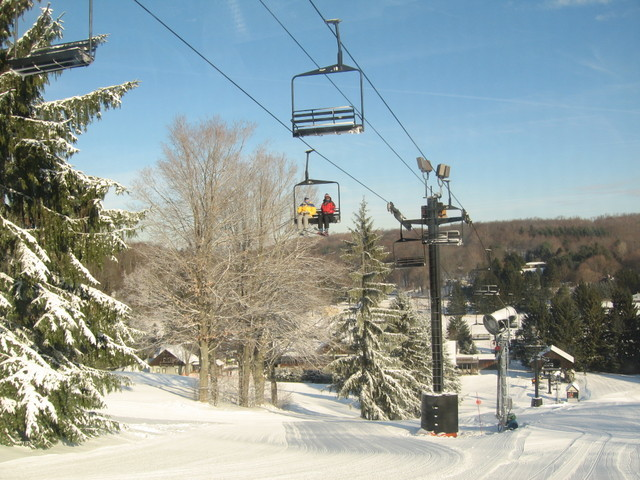 Visitors going up a lift at Snow Trails, OH.
