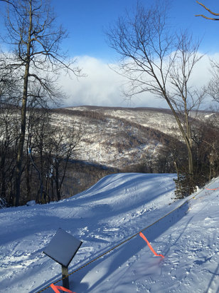 Blue Knob - Beautiful, but freezing day. Some decent powder in areas but mostly hard pack snow. Still has some brown spots in areas and a few icy spots.  - ©Pat