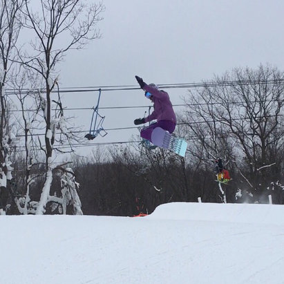 Blue Mountain Resort - Conditions were the best I've ever seen them! Terrain parks were AMAZING!! Got a little icy around 12:30, but not bad. Was not crowded. I was very impressed! - ©Jamie