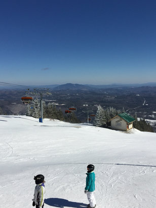 Okemo Mountain Resort - Today is a huge change from yesterday, they covered up almost all the ice with man made last night. Only problem is weather, it was pretty windy up at the summit and they were blowing snow near the lifts.  - ©anonymous
