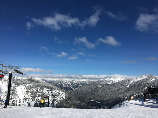 Stevens Pass Resort - Nice blue bird day - good cover, packed powder - get out there while you still can!!! - ©Yellobird