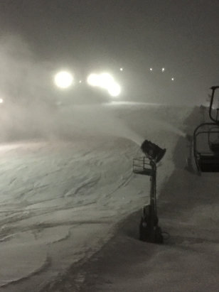 Wisp - Thurs night was great! Snowed multiple inches of fresh powder all night session. They turned all the snowguns on around 8:44, assume they will run all night. Should be great conditions this weekend.  - ©Creeping Death iPhone 6