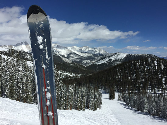 Monarch Mountain - Icy in spots and windy.  Still, not bad snow for spring skiing.   - ©iPhone