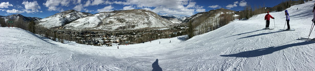Vail - Skiing Friday was awesome. Lots of fresh power and sun burned through the clouds after lunch. Spring skiing at its best!  - ©Clayton's iPhone