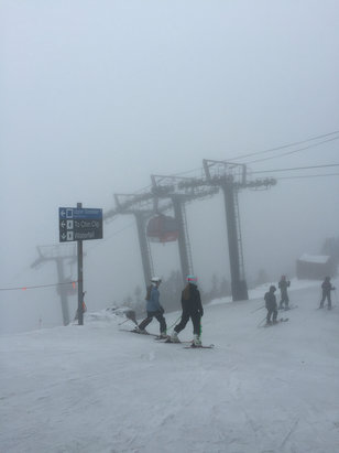 Stowe Mountain Resort - Suff has softened up a lot this afternoon after some rain and now rising temperatures... There is a good and solid snow base with more snow on the ground than I expected... Visibility at the top still poor, buy conditions better than they were this morning... - ©Tony
