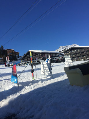 Lech Zürs am Arlberg - Lots of snow last night. Beautiful sunny skiing today. Just avoid low slopes into Lech as get slushy and full of moguls especially in afternoon. High slopes awesome.  - ©Tim Percival's iPhone